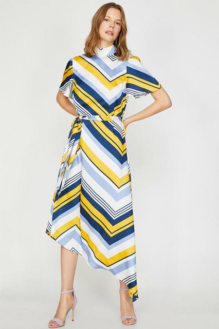 Koton Sarı Çizgili Desenli Elbise