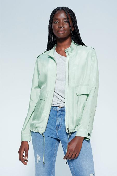 Mango Yeşil Pastel Cupro Ceket