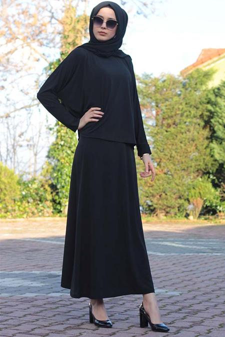 Melek Aydın Siyah Etek & Bluz İkili Takım