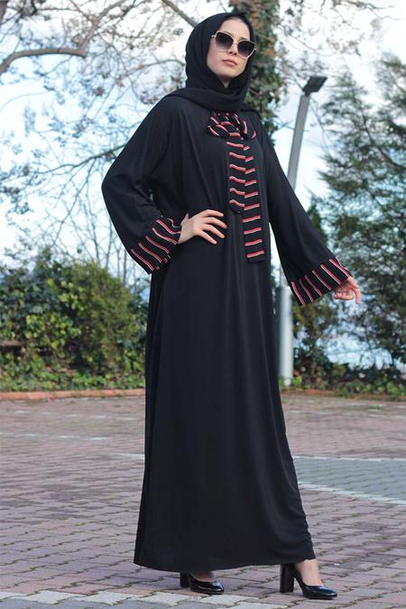 Melek Aydın Siyah Fiyonk Detaylı Ferace Elbise