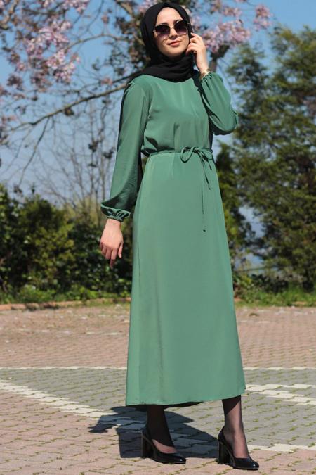 Melek Aydın Yeşil Kemerli Elbise