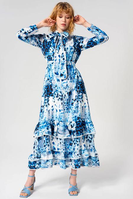 Miha Mavi Eteği Volanlı Elbise
