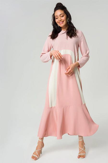 Miha Pembe Sırtı Fermuar Detaylı Elbise