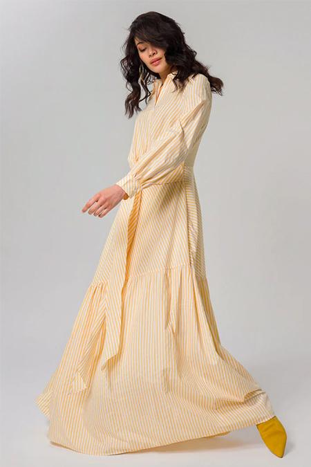 Miha Sarı Çizgili Elbise