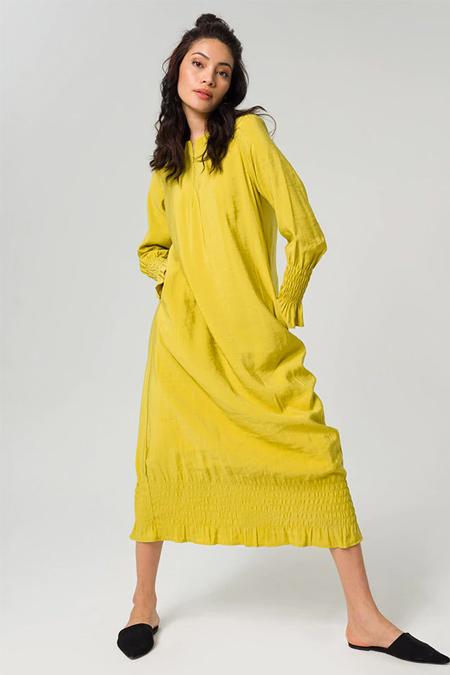 Miha Yeşil Drape Detaylı Elbise