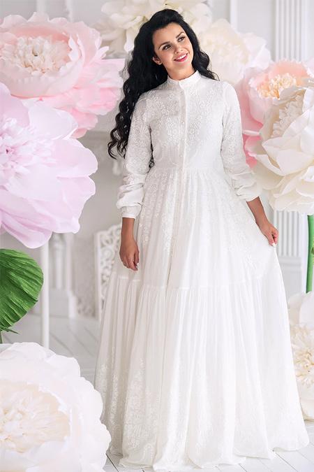 Muslima Wear Ekru White Dream Abiye Elbise