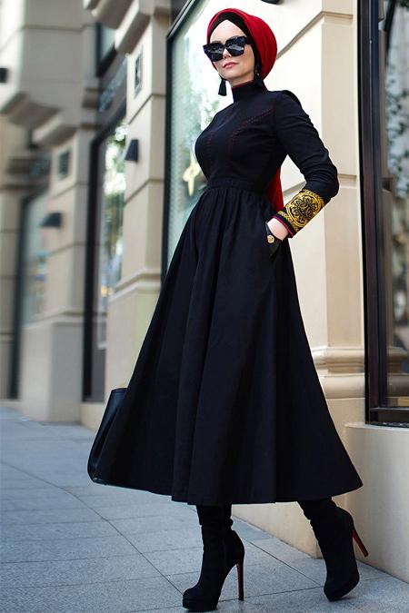Muslima Wear Siyah Aviator Abiye Elbise