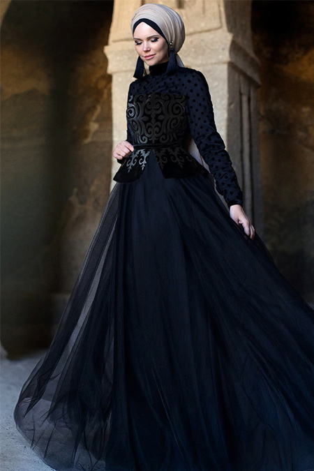 Muslima Wear Siyah Ayya Dress Abiye Elbise