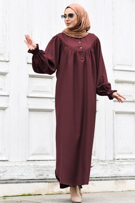 Neways Bordo Kol Detaylı Elbise