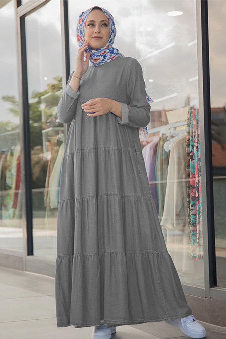 Neways Gri Büzgülü Kot Elbise