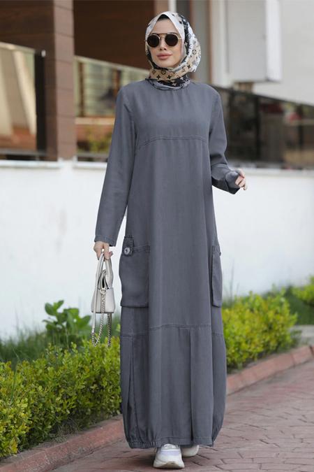 Neways Gri Cep Detaylı Tensel Elbise