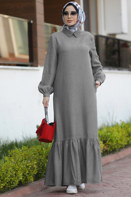 Neways Gri Tensel Elbise