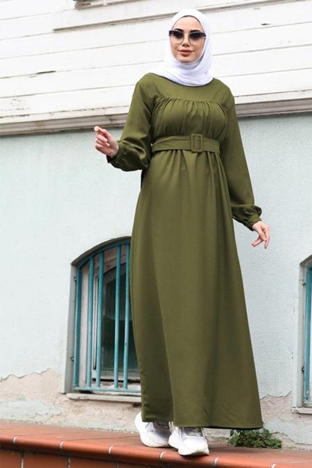 Neways Haki Kol Uçları Lastik Detaylı Elbise