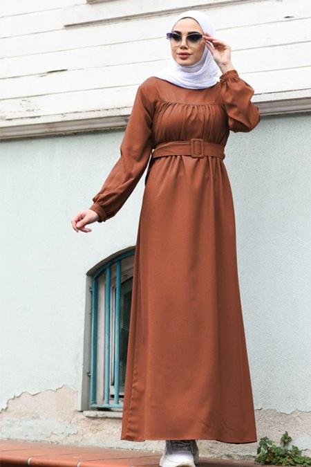 Neways Kiremit Kol Uçları Lastik Detaylı Elbise