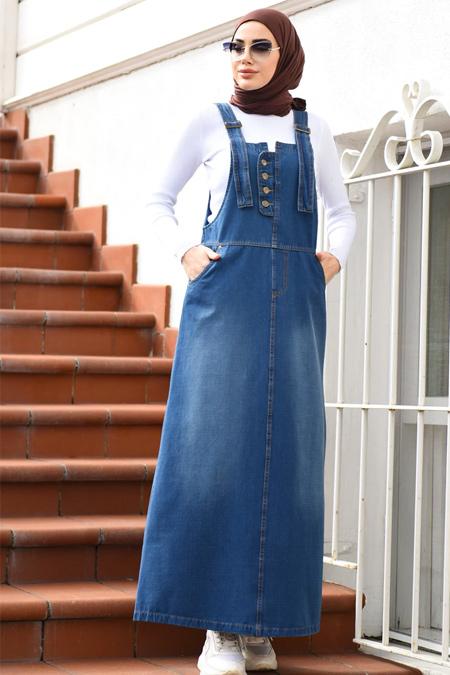 Neways Koyu Mavi Kot Salopet Elbise