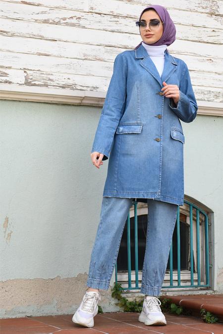 Neways Mavi Kot Pantolon