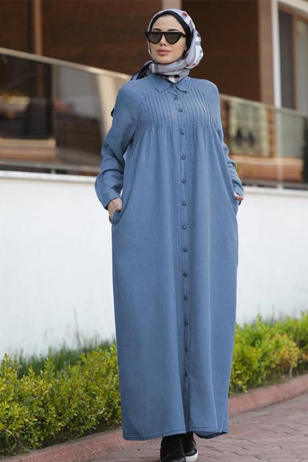 Neways Mavi Nervürlü Tensel Elbise