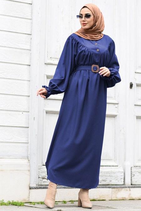 Neways Saks Kol Detaylı Elbise