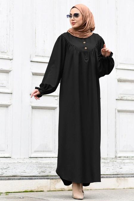 Neways Siyah Kol Detaylı Elbise