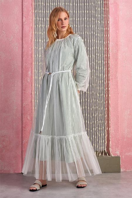 Nocturne Haki Tül Detaylı Elbise