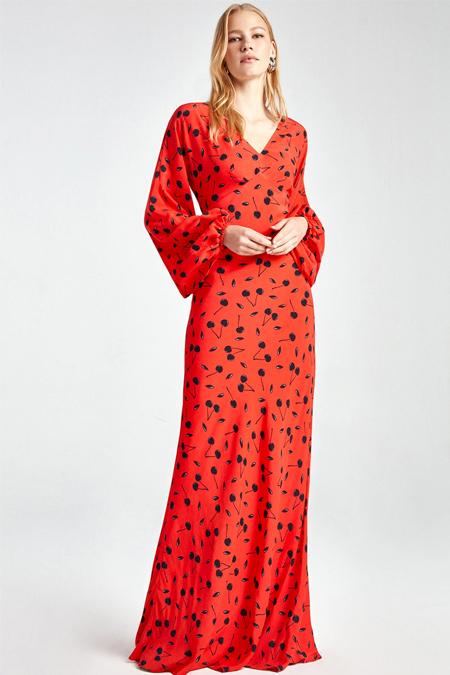 Nocturne Kırmızı Balon Kol Desenli Elbise