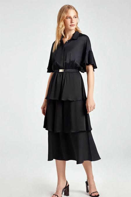 Nocturne Siyah Saten Yüzeyli Kat Kat Volanlı Elbise
