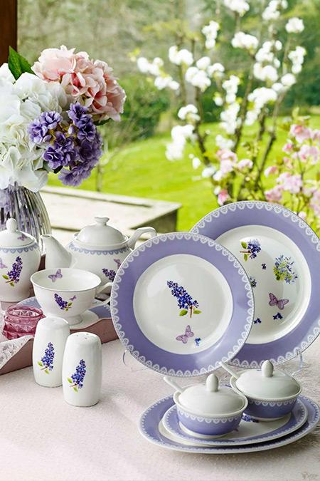 Pierre Cardin Purple Flower 49 Parça Kahvaltı Takımı