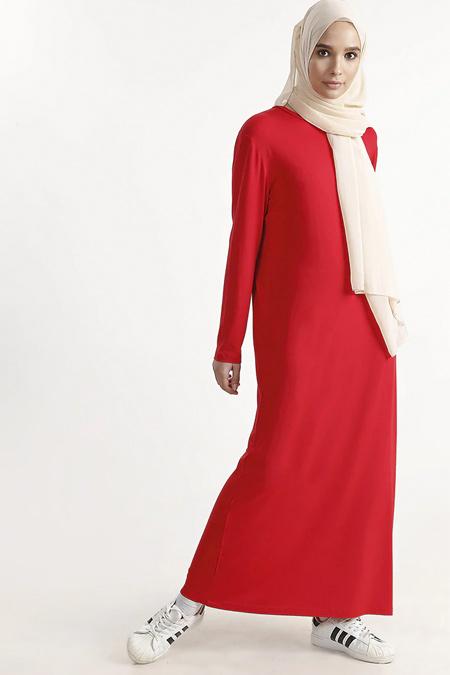 Plistre Kırmızı Bisiklet Yaka Uzun Elbise