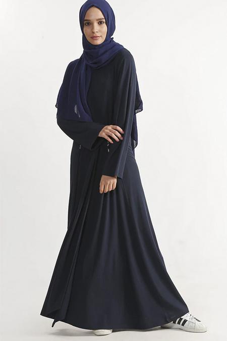 Plistre Lacivert Taş Detaylı Uzun Elbise