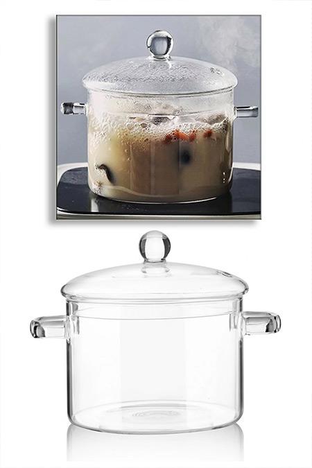 Queen's Kitchen 1800 ml Ateşe ve Isıya Dayanıklı Lüx Termisil İnce Cam Tencere