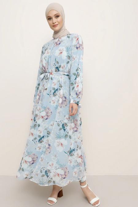 Refka Açık Mavi Kuşak Detaylı Çiçekli Elbise