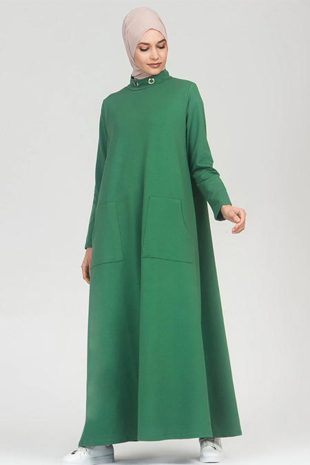 Refka Açık Yeşil Yakası Kuş Gözü Detaylı Cepli Elbise