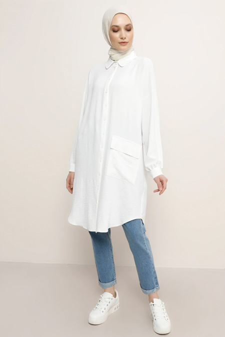 Refka Beyaz Cep Detaylı Düğmeli Tunik