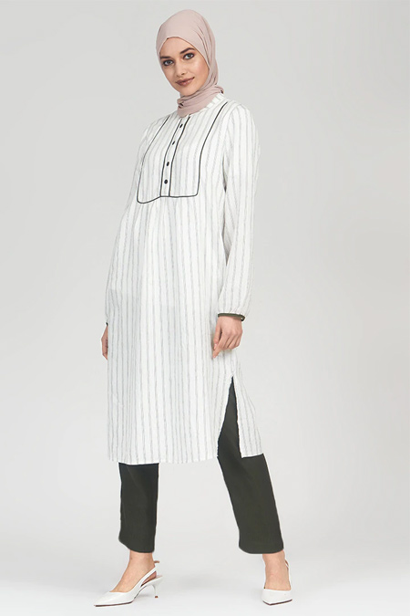 Refka Beyaz Haki Çizgili Pantolon & Tunik İkili Takım