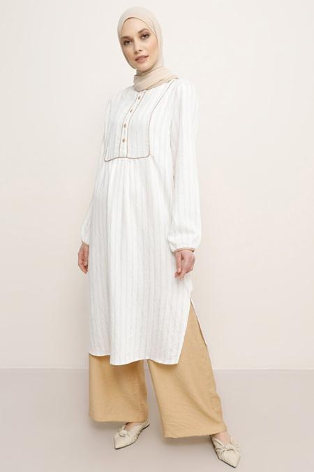 Refka Beyaz Vizon Çizgili Pantolon & Tunik İkili Takım