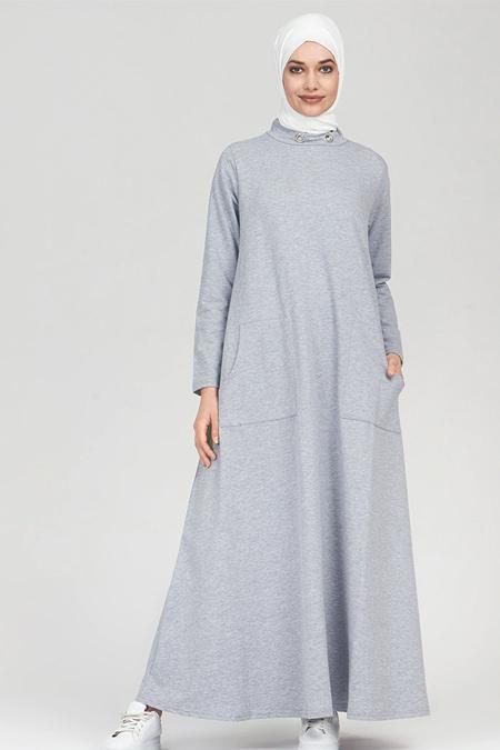 Refka Gri Melanj Yakası Kuş Gözü Detaylı Cepli Elbise