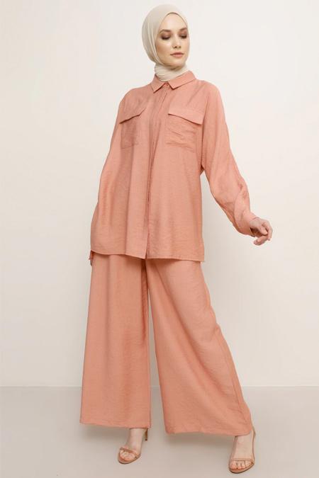 Refka Gül Kurusu Pantolon & Tunik İkili Takım