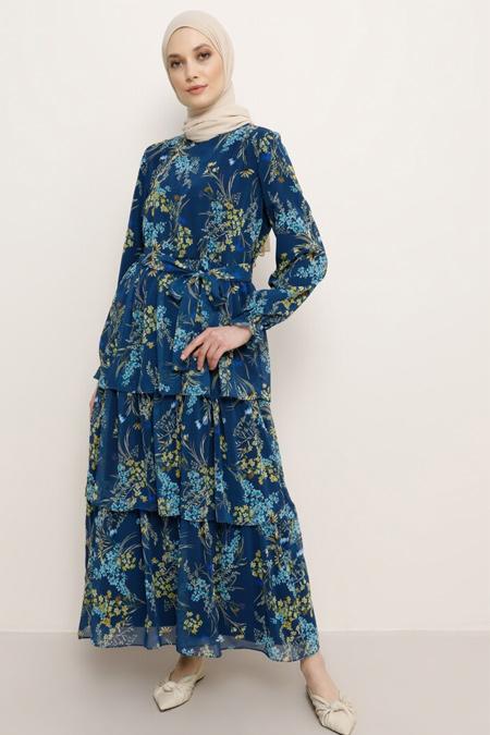 Refka Lacivert Çiçek Desenli Kuşaklı Elbise