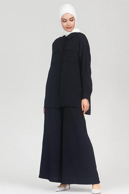 Refka Lacivert Pantolon & Tunik İkili Takım