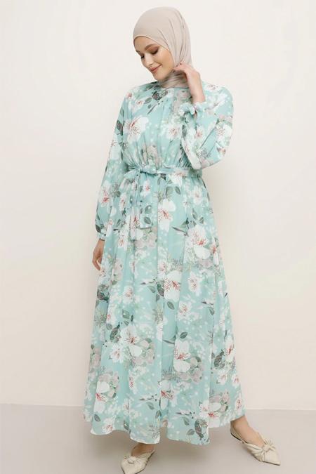Refka Mint Kuşak Detaylı Çiçekli Elbise