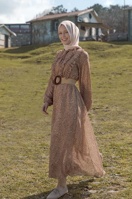 Refka Pudra Beli Lastikli Puantiye Desenli Elbise