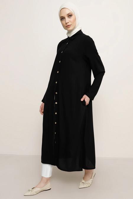 Refka Siyah Doğal Kumaşlı Düğmeli Tunik