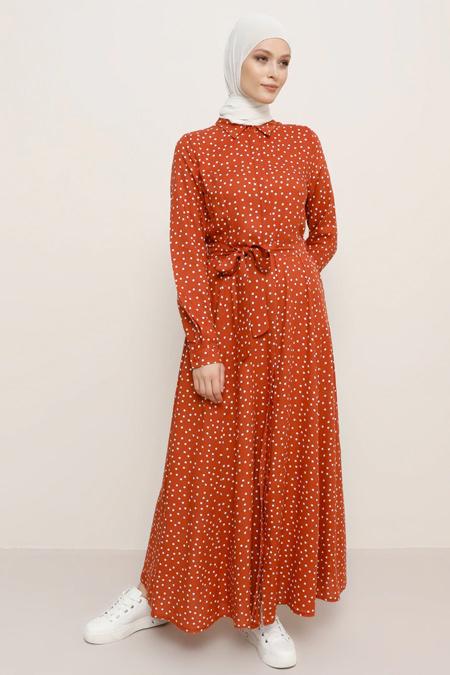 Refka Tarçın Ekru Doğal Kumaşlı Desenli Elbise