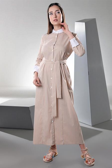 Sahra Afra Bej Blanco Elbise