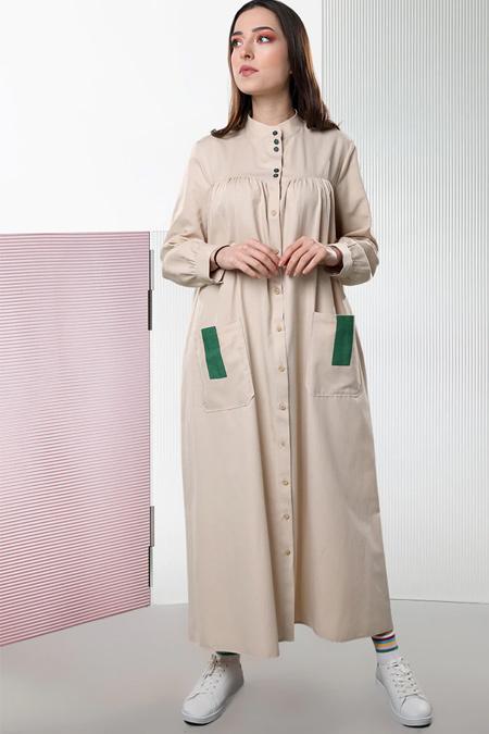 Sahra Afra Bej Pocket Elbise