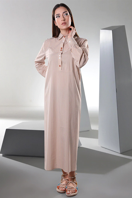 Sahra Afra Bej Vineto Elbise