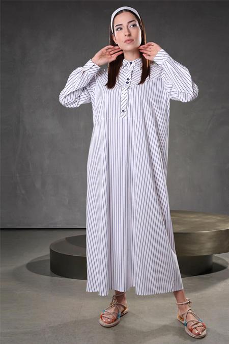 Sahra Afra Beyaz Vineto Elbise