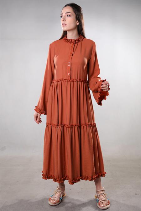 Sahra Afra Kiremit Volante Elbise