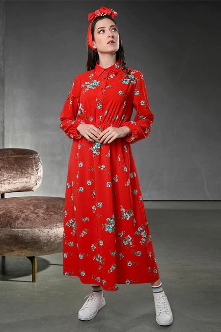 Sahra Afra Kırmızı Flor Elbise