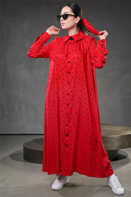 Sahra Afra Kırmızı Momante Elbise